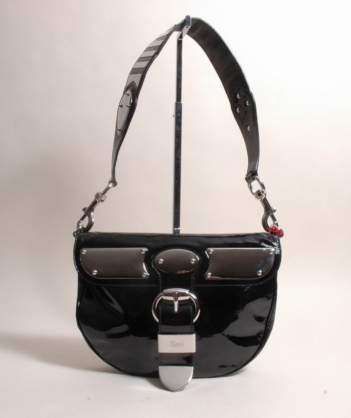gucci authentic leather bag leder tasche lack glamour ebay. Black Bedroom Furniture Sets. Home Design Ideas